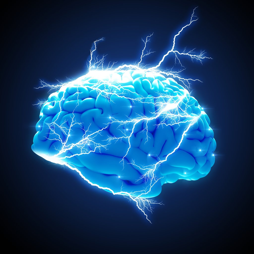 Picture of a brain on a black background